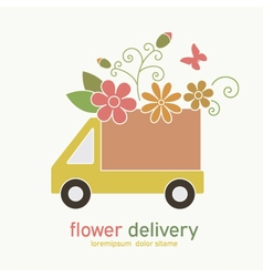Colored emblem of flower delivery truck vector