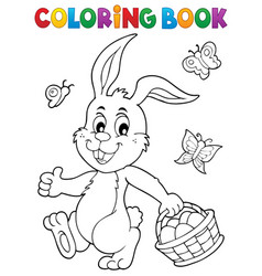 coloring book easter rabbit topic 1 vector image