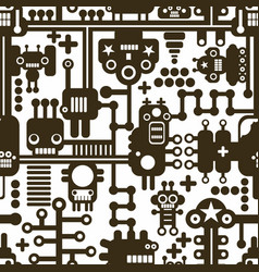 creative seamless pattern with monochrome monsters vector image