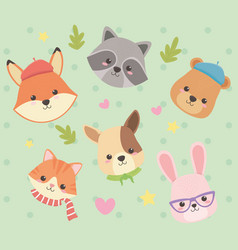 Cute and little animals with leafs and hearts vector