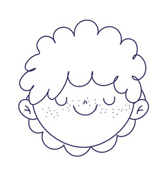 cute boy face cartoon character icon line style vector image