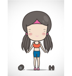 Cute girl exercising hold in dumbbell hand vector