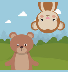 Cute monkey and bear in the field landscape vector