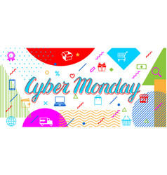 cyber monday sale banner online shopping and vector image