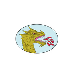 Dragon head breathing fire oval drawing vector