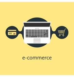 ecommerce with credit card laptop and shopping vector image