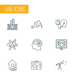 education icons line style set with creativity vector image