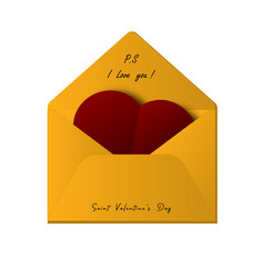 envelope with heart and text i love you and vector image