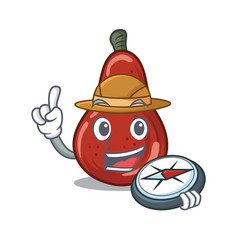 Explorer red pears isolated in mascot vector