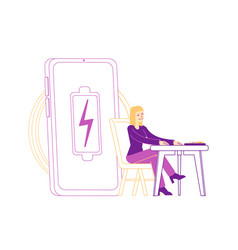 female character sitting at desk near huge vector image