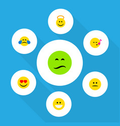 Flat icon face set of grin displeased love and vector