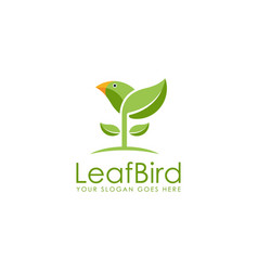 fresh fun nature leaf bird logo icon template vector image