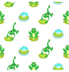 Frogs cartoon green seamless pattern vector