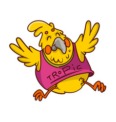 funny bright yellow parrot in pink shirt vector image