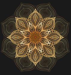 Golden floral circular pattern on black background vector