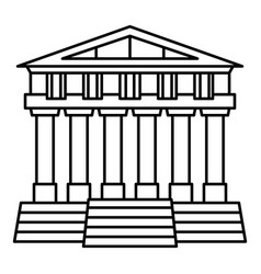 greek temple icon outline style vector image