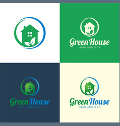 Green house logo and icon vector
