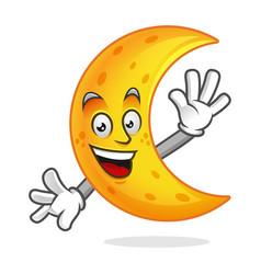 Greeting moon mascot moon character moon cartoon vector