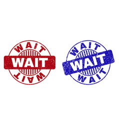 Grunge wait scratched round watermarks vector