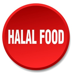 Halal food red round flat isolated push button vector