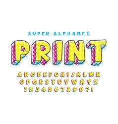 halftone comical original alphabet design vector image