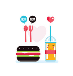 hamburger and glass of juice food banner vector image