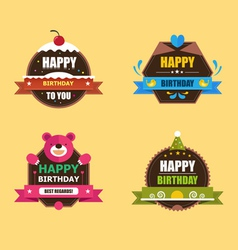 Happy birthday labels collection vector