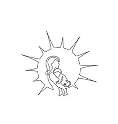Happy mother day card continuous one line drawing vector