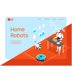 Home robots landing page vector