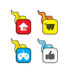 Hot flame icon button theme art vector
