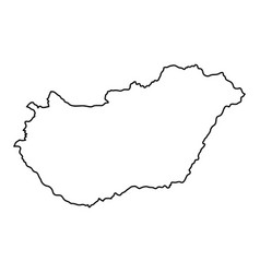 Hungary map of black contour curves of vector