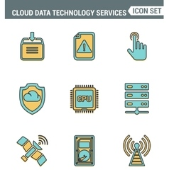 Icons line set premium quality of cloud data vector image