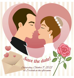 invitation card for wedding with young couple vector image