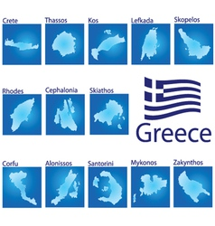 island map on Greece vector image