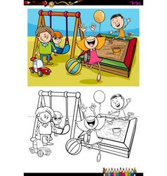 Kids on playground coloring book vector