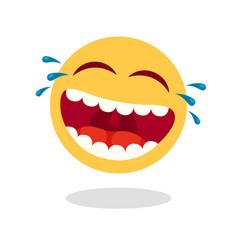 Laughing smiley emoticon cartoon happy face vector