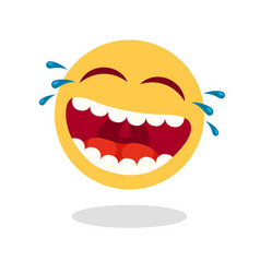 Laughing smiley emoticon cartoon happy face with vector