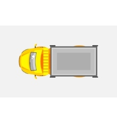 Light truck with trailer top view vector