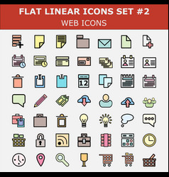 linear flat web icons set vector image
