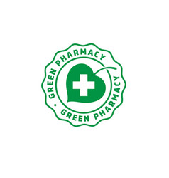 logo green pharmacy leaf cross vector image