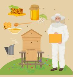 Man beekeer in special uniform costume Apiary vector image