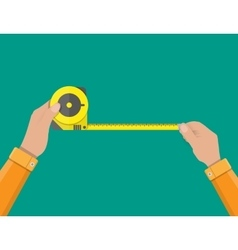 Mens hands hold measuring tape vector image