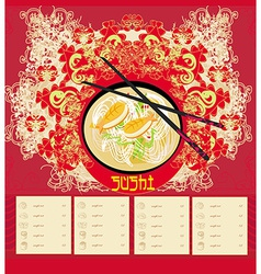 menu for sushi - Template Design vector image