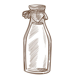 milk in sealed bottle dairy product isolated vector image