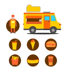 Mobile cafe business icons vector image