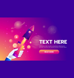 mobile icons app rocket on the space background vector image