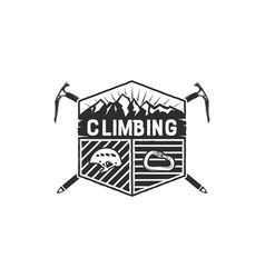 mountain adventure climbing vintage hand drawn vector image