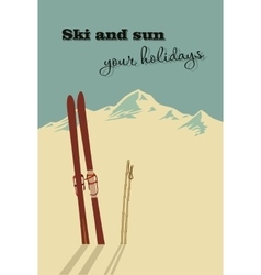 Mountains and ski equipment in the snow vector image