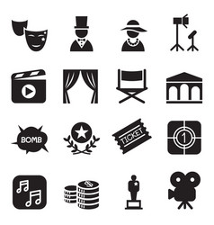 Movies icons set vector