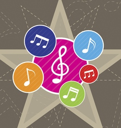 Music on star background vector